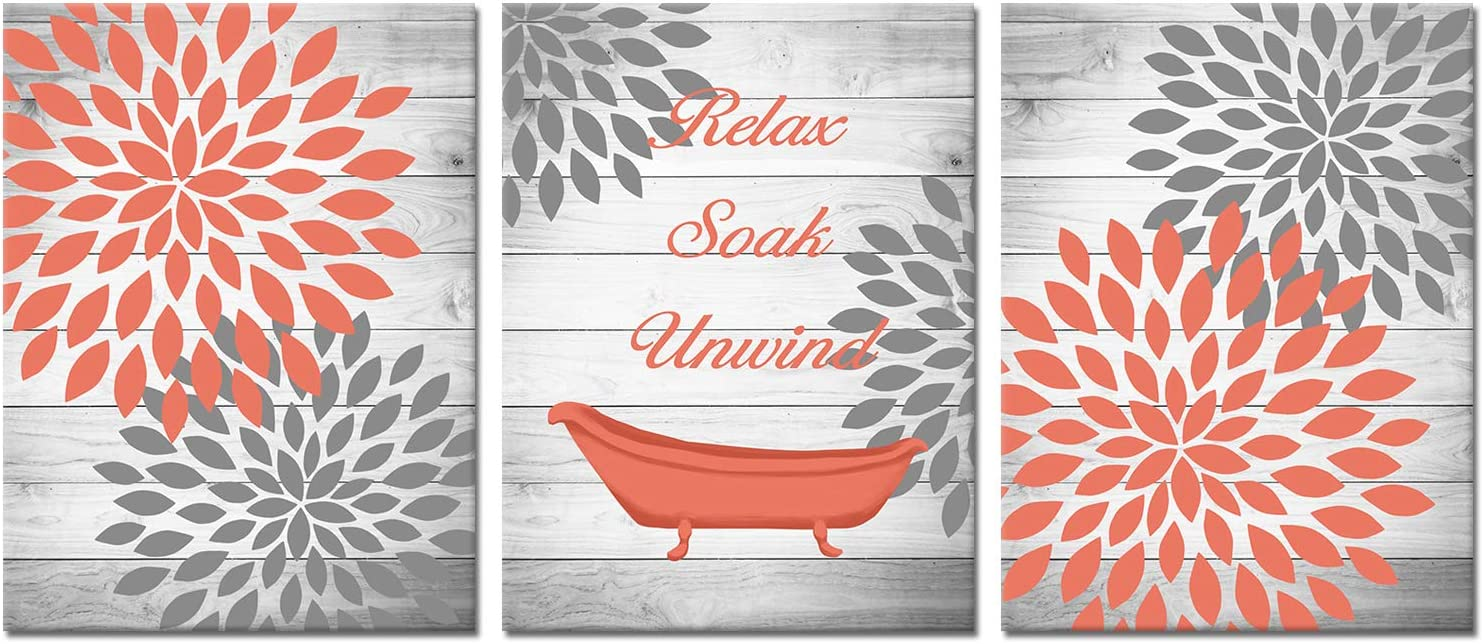 OuElegent Dahlia Canvas Wall Art Coral Gray Flower with Rustic Wood Background Painting Pictures Vintage Bathtub Relax Soak Unwind Inspiring Print Art for Home Bathroom Decor Framed 12