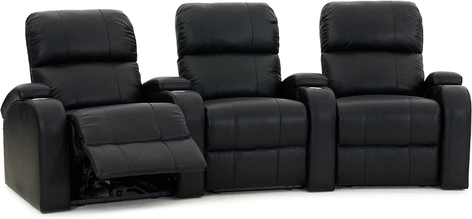 Octane Edge XL800 Row of 3 Seats, Curved Row in Black Leather with Manual Recline: Furniture & Decor