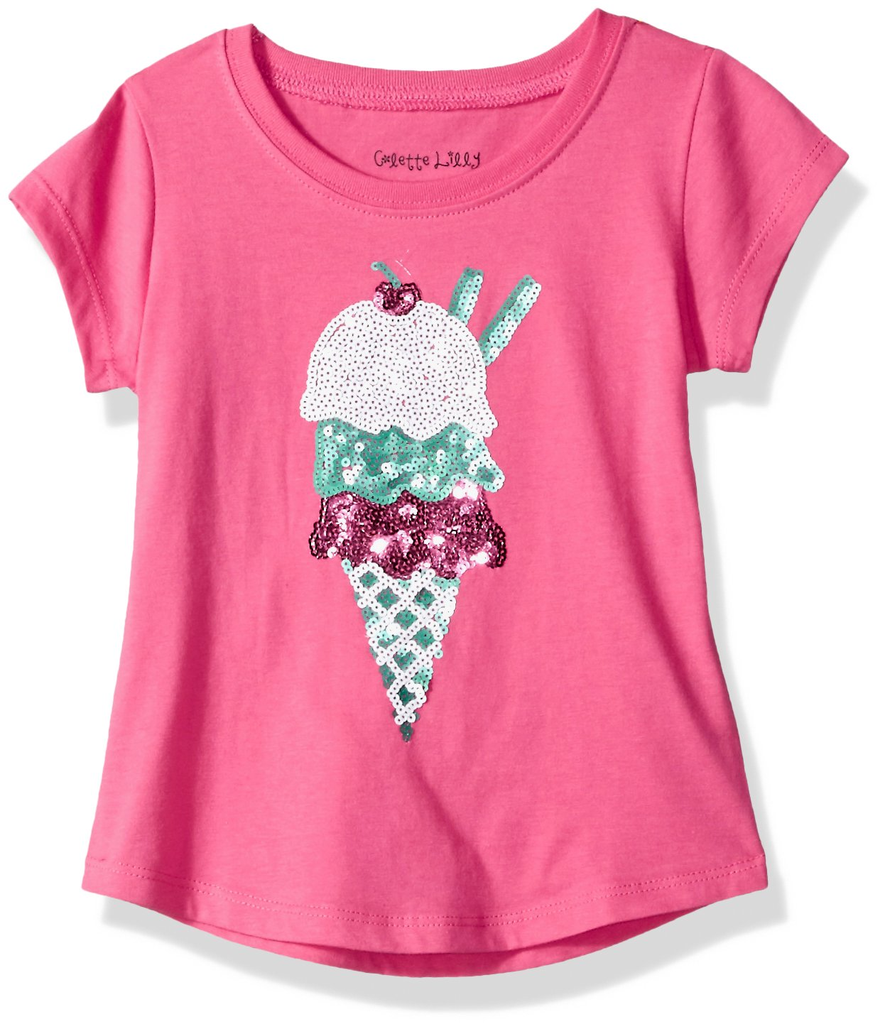 Colette Lilly Little Girls' Short Sleee Sequin Tee, Pink Ice Cream, 4