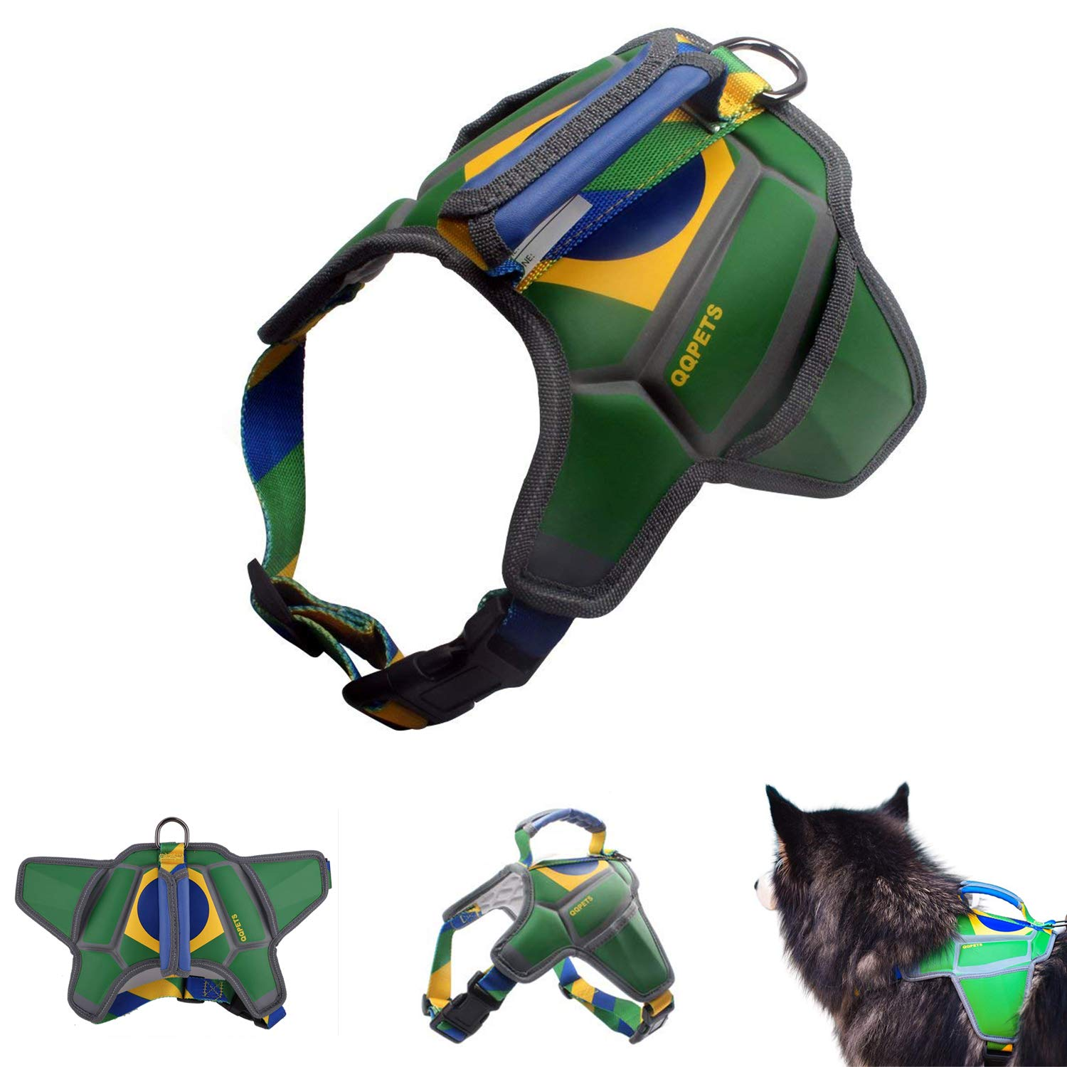 Green harness Small Green harness Small QQPETS No Pull Reflective Dog Harness with Handle Pocket Heavy Duty Padded Pet Vest Harness Small Medium Puppy Breed Girl Boy 20-45lb Adjustable Chest 23-29  Green Brazil Flag Printed Top Clip