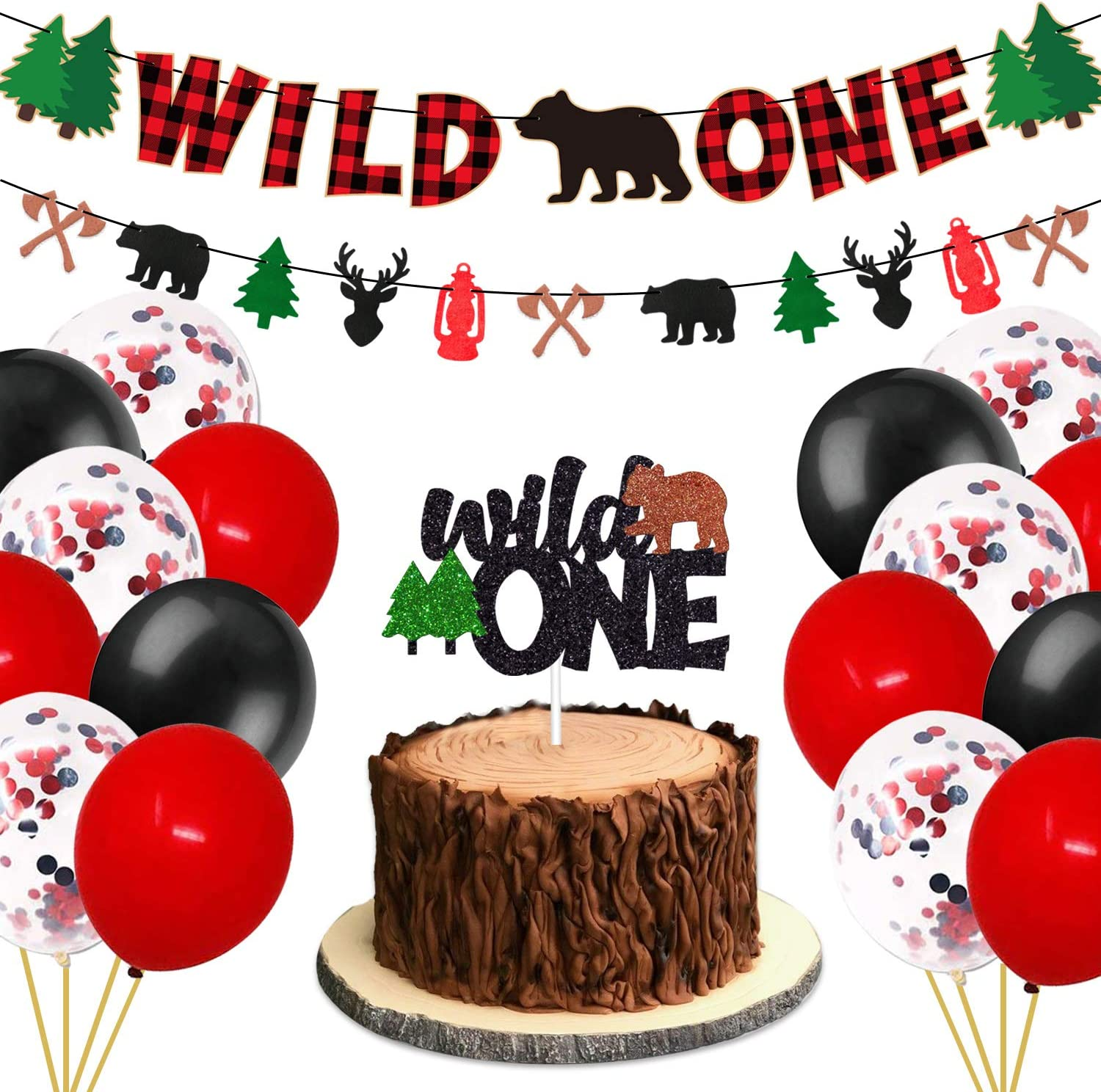Wild One 1st Birthday Party Decorations Kit - Includes Glitter Cake Topper Buffalo Plaid Banner and Balloons - Winter Lumberjack Bear Woodland Camping Hunting Themed Baby Shower First Bday Party Supplies