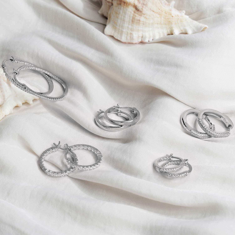 PAVOI 14K Gold Plated 925 Sterling Silver Cubic Zirconia Hoop Earrings