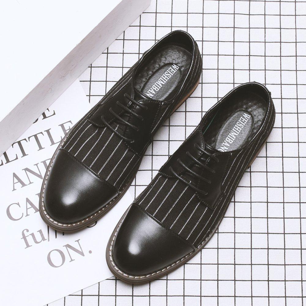 ZPFME Herren Stripe Canvas Leder Formelle Brogues Smart Kleid Kleid Smart Schuhe Schnürschuhe Derby Schuhe Für Männer Business Schuhe cfdf6e