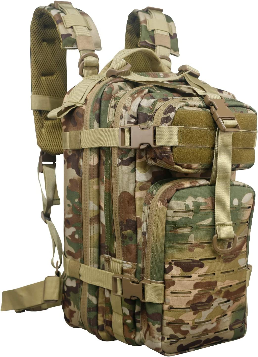 Fox Tactical Small Assault Backpack Military Backpack Tactical Bag for Outdoor, Hiking, Camping Travel Black Tan