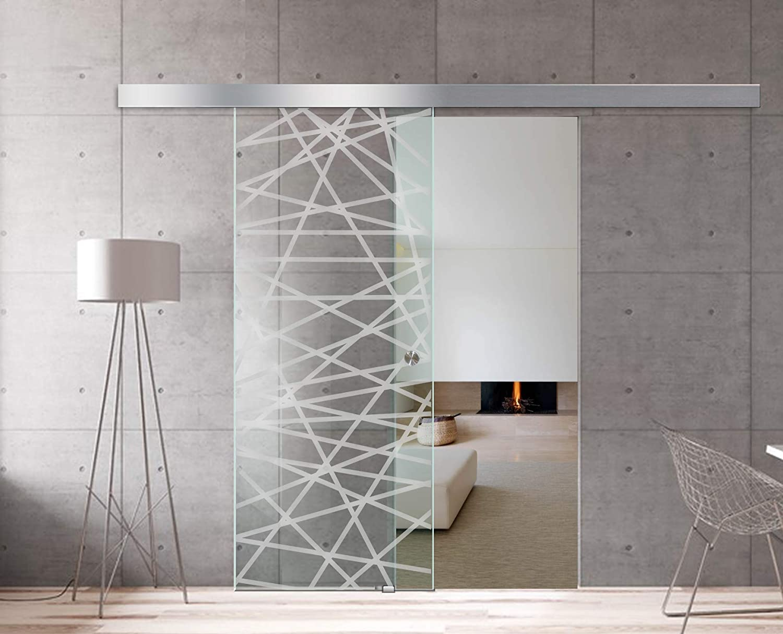 Modern Glass Art - Puerta de cristal deslizante para Boss de diseño interior - Cristal de seguridad templado de diamante de 8 mm de grosor, nano revestido, accesorios de acero inoxidable SS304,