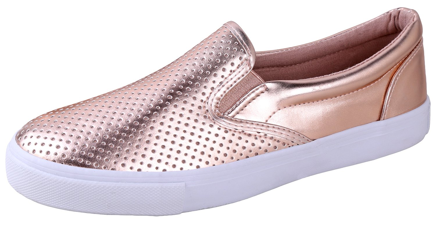 Soda Shoes Women's Tracer Slip On White Sole Shoes Penny Metallic 9