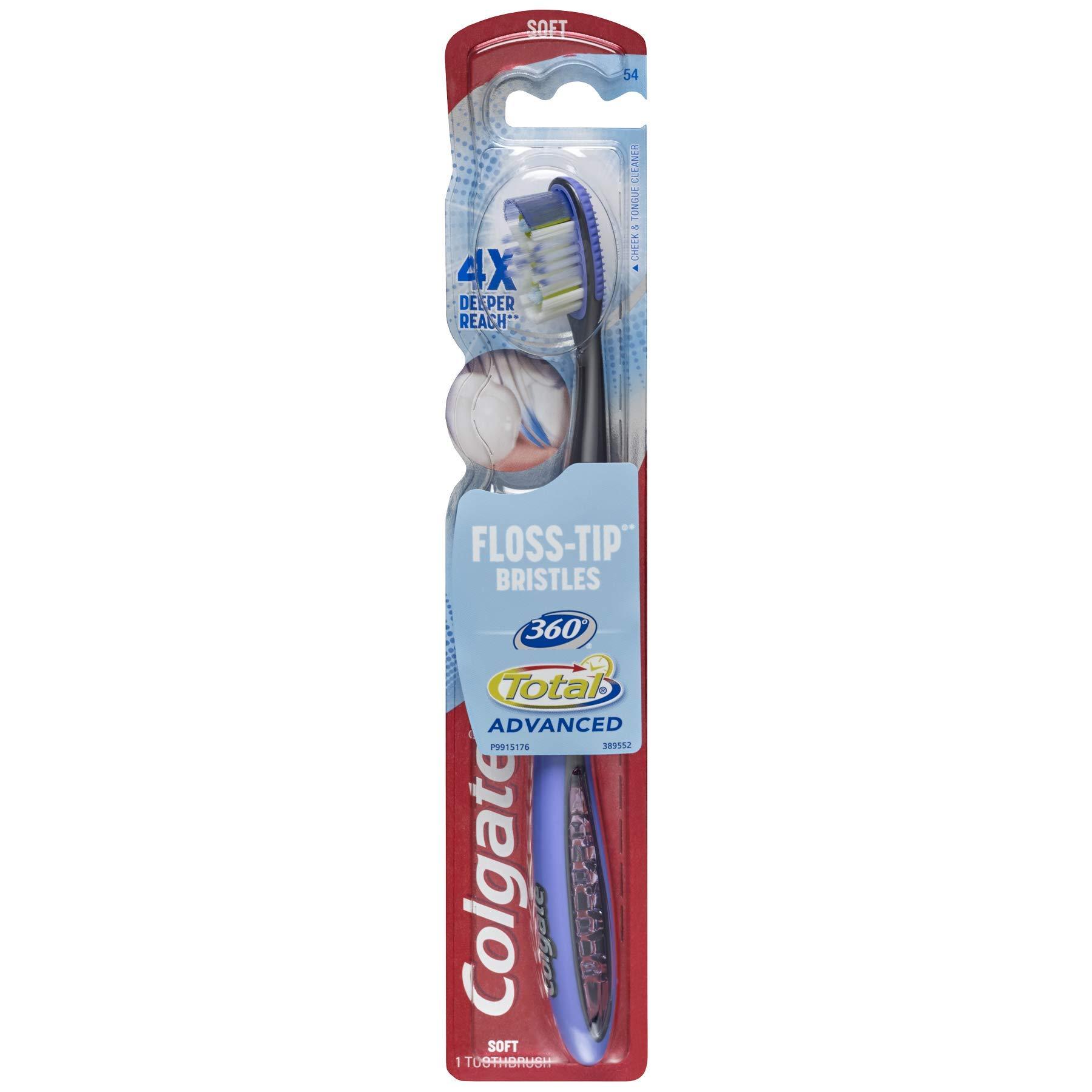Colgate 360 Total Advanced Floss-Tip Slim Toothbrush, Soft (72 Pack)