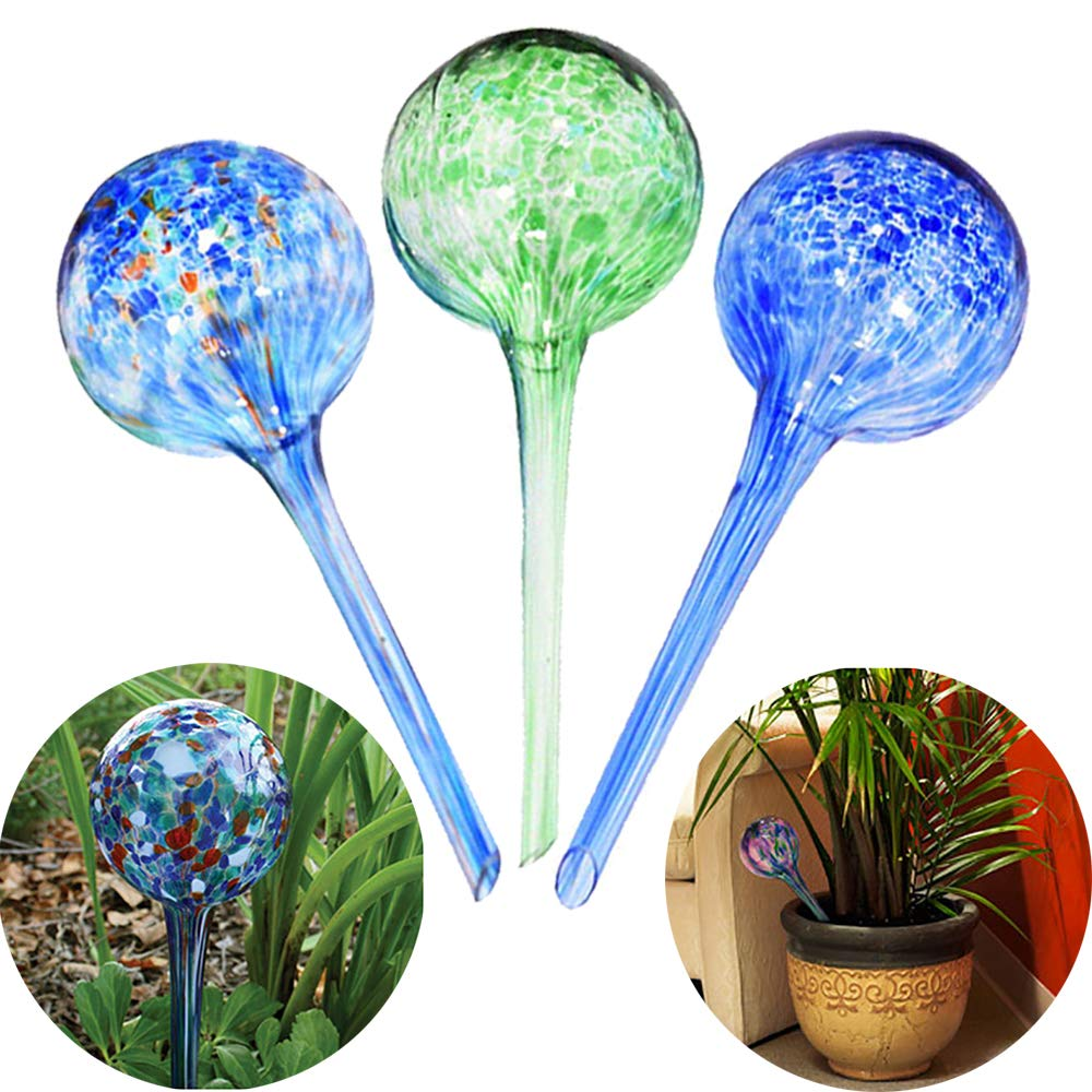 Sungmor Aqua Globes 3pc Set,Automatic Watering Glass Bulbs,7CM x 20CM,200ML Capacity,Best Watering Solutions for Indoor,Outdoor & Office Potted Plant by Sungmor