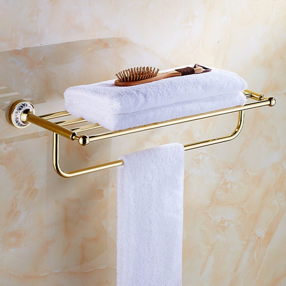 DHWM-All copper thick towel rack bath towel rack health bathroom hanging bath metal mounting kit