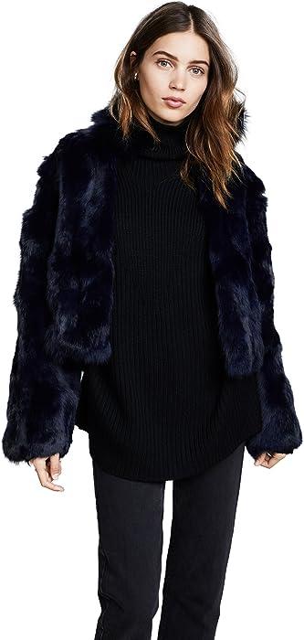 20c7660f77f3 Adrienne Landau Women's Fur Jacket with Fox Collar, Navy, Blue, Medium