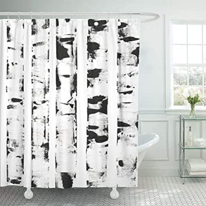 Emvency Fabric Shower Curtain With Hooks Watercolor White Of Birch Trees Graphic Abstract Winter Artistic Bark