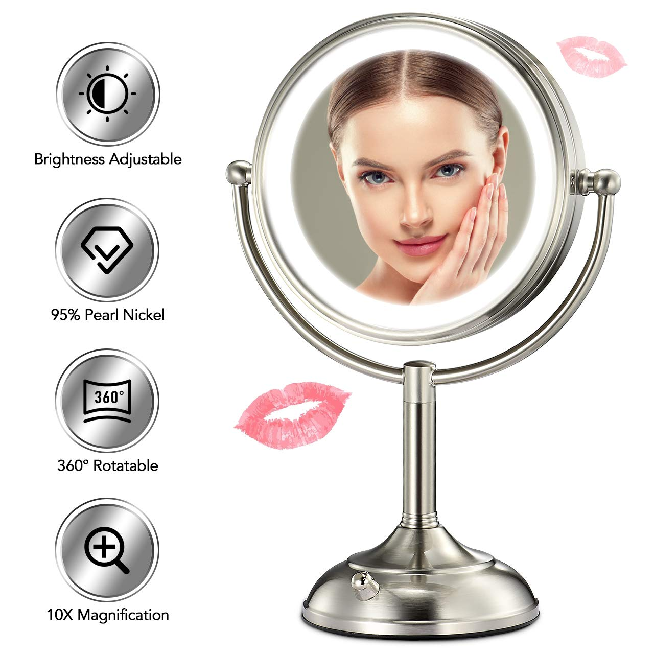 Professional 8.5'' Lighted Makeup Mirror, 10X Magnifying Vanity Mirror with 32 Medical LED Lights, Senior Pearl Nickel Cosmetic Mirror,Brightness Adjustable(0-1100Lux) Desk Lamp Night Light Alternative by VESAUR