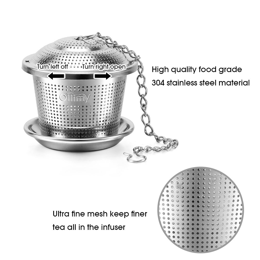 Amazon.com: Tea Ball Infusers Set Stainless Steel - Ollimy Coffee Strainer  & Steeper for Loose Tea with Drip Trays (Set of 2): Kitchen & Dining