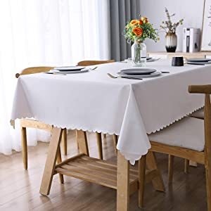 "smiry Heavy Duty Vinyl Tablecloth, Waterproof and Oil-Proof Solid Color Wipeable Table Cloth, Washable Table Cover for Indoor and Outdoor Use(60"" X 84"",White)"
