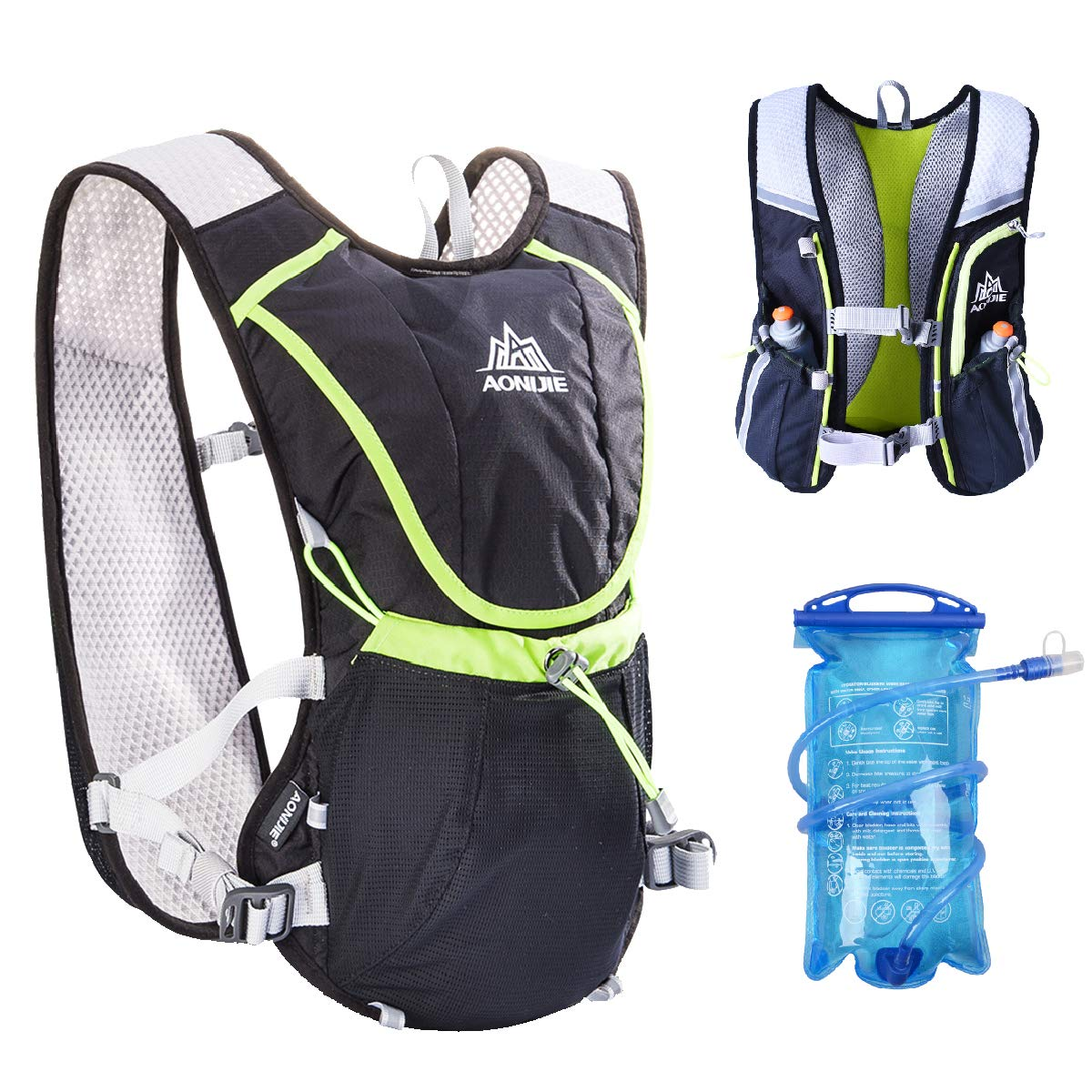 TRIWONDER Hydration Pack Backpack Professional 8L Outdoors Mochilas Trail Marathoner Running Race Cycling Hydration Vest (Black - with 1.5L Water Bladder)
