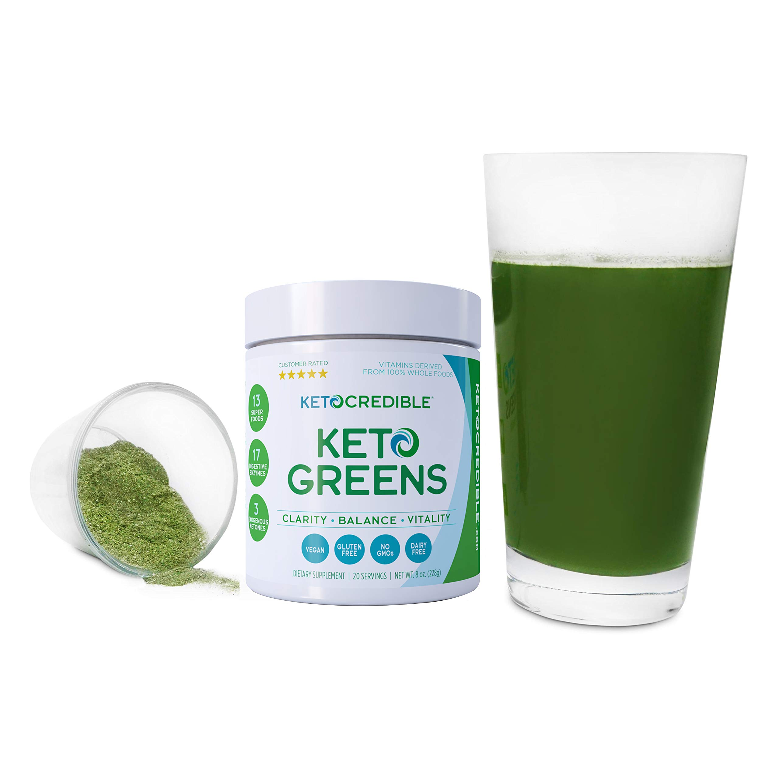 Keto Credible KetoGreens 3-in-1 Green Drink (23 Healthy Greens + Superfoods, 17 Digestive Enzymes, 3 Exogenous Ketones) Powder Optimized to Burn Fat, Increase Energy/Clarity and Jump-Start Ketosis