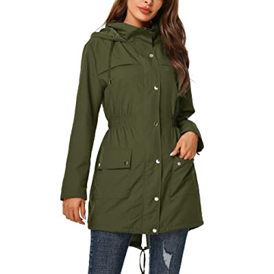 UUANG Rain Jacket Women Waterproof with Hood Outdoor Raincoat Active Lightweight Jacket S-2XL: Clothing