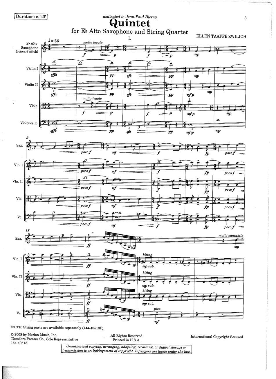 Quintet: for Eb Alto Saxophone and String Quartet (Solo Part and Full Score)