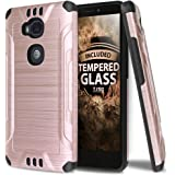 Huawei Sensa LTE Case With TJS Tempered Glass Screen Protector, Dual Layer Hybrid Shockproof Resist Rugged Case Cover Metallic Brush Finish With Hard Inner Layer For Huawei Sensa LTE (Rose Gold)