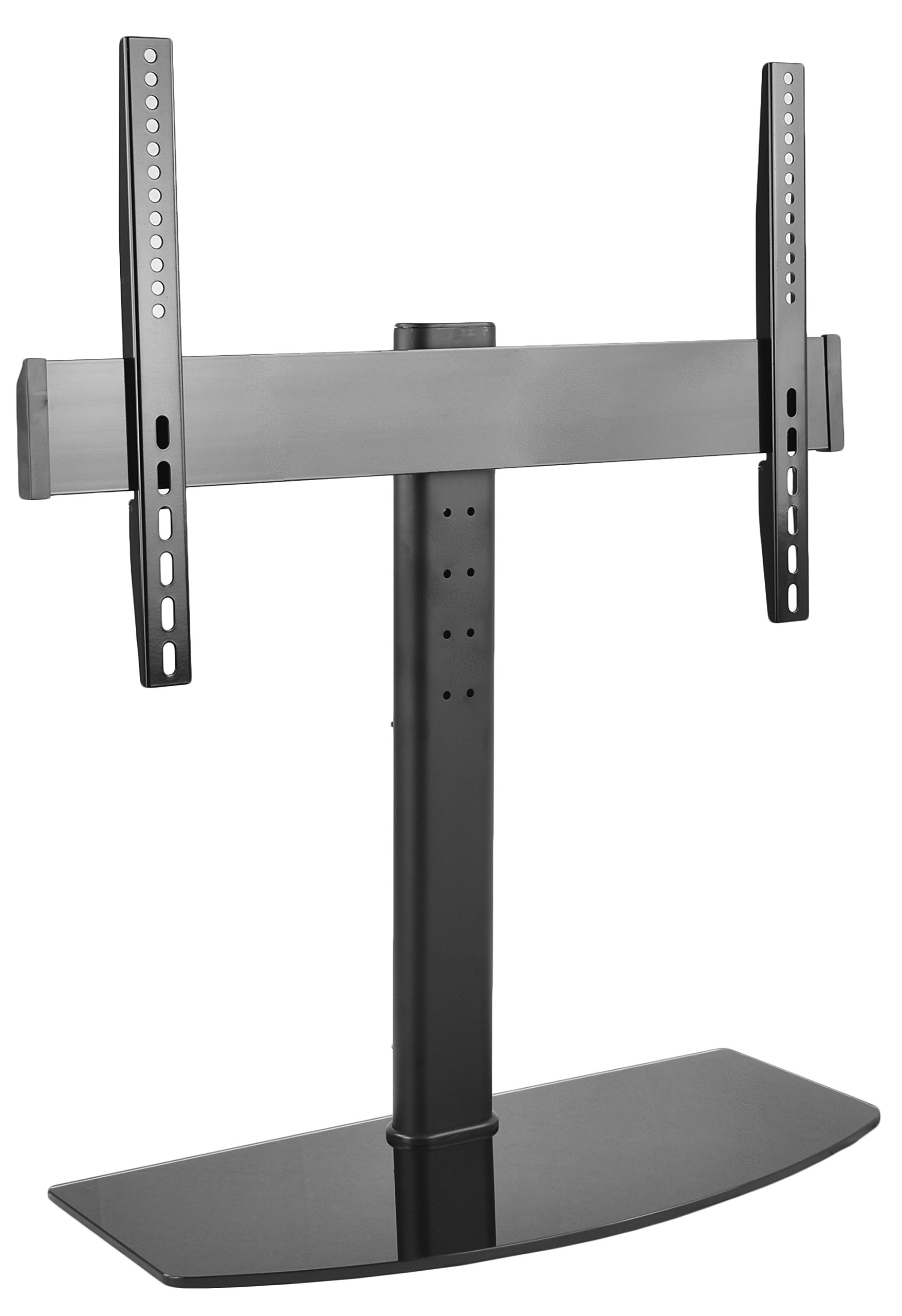 VIVO Universal LCD LED Flat Screen TV Table Top Desk Stand with Glass Base | fits 32'' to 55'' T.V. (STAND-TV00L)
