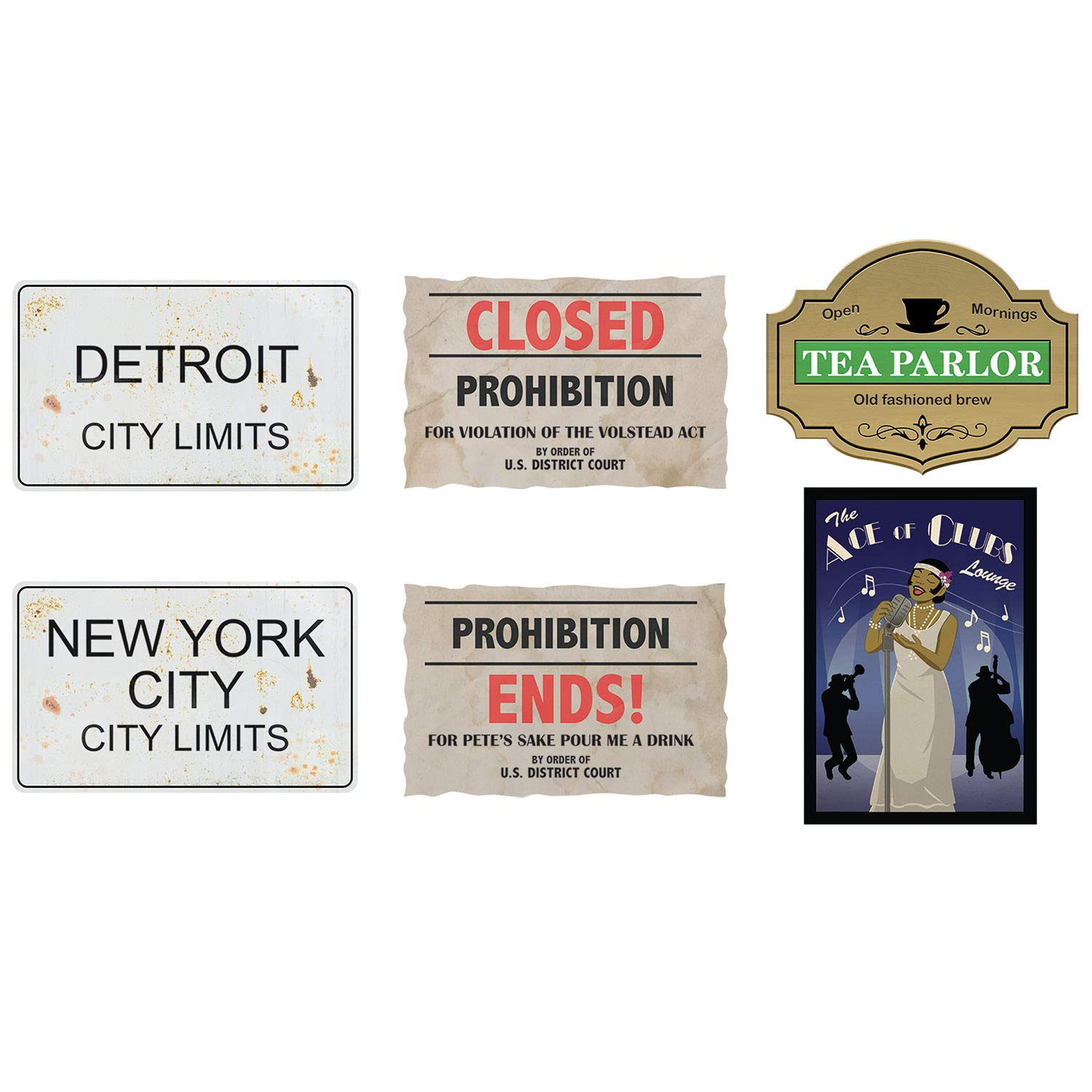 Beistle Roaring 20's Party Decorations, Great 20's Prohibition Cutouts 11 Inch to 14 Inch, Pack 72 by Beistle