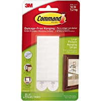 Command Picture and Frame Hanging Strips Heavy Duty, Large, White, Holds 16 lbs, 4-Pairs (17206-ES) - 1