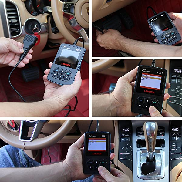 LAUNCH Creader 4001 comes with a long cord that you plug into the OBDII port of the vehicle which you are assessing.