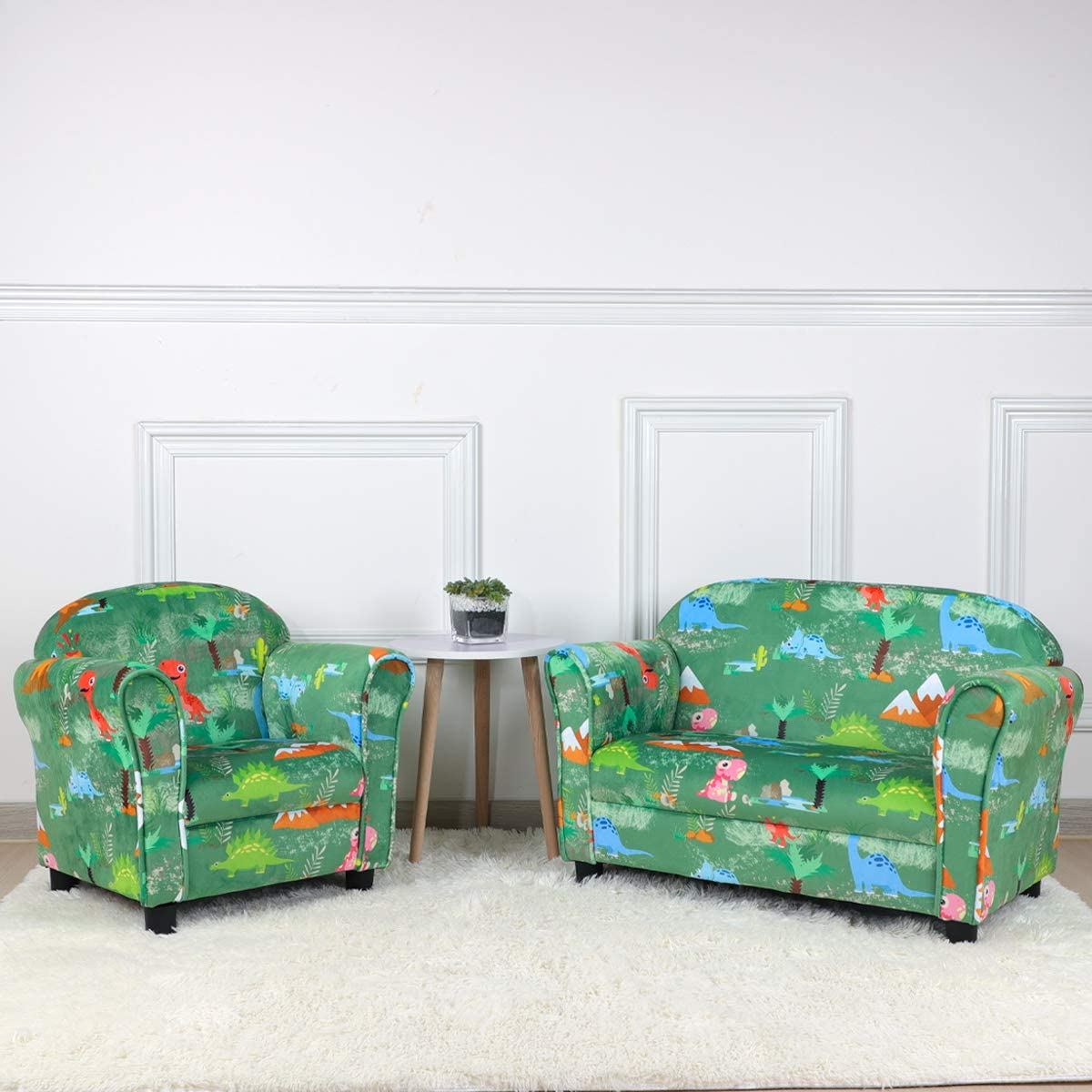 Velvet Fabric 2-Seater Kid Upholstered Couch Perfect Kid Gift Kid Sofa Chair Green