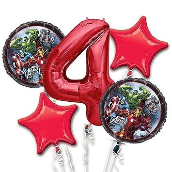 Amazon.com: Vengadores El Globo Ramo 4th cumpleaños 5 Pcs ...