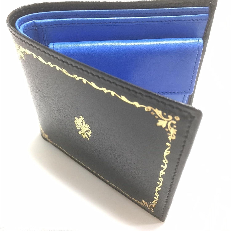Peroni ペローニ イタリア製 本革 折り財布 ブラック&ブルー 22金デコレーション 証明書付き B07FQNS66J