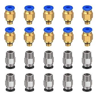 10 pcs PC4-M6 Pneumatic Connectors and 10x PC4-M10 Connectors for 3D Printers