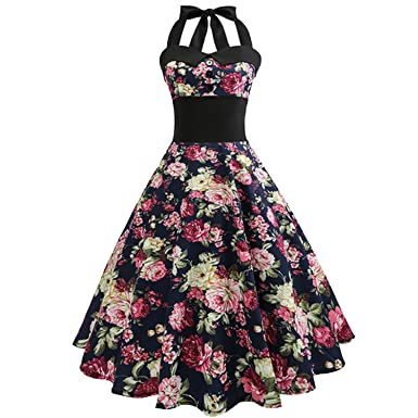 Sky-Pegasus Retro Vintage Sleeveless Floral Printed 2018 Summer Women Dress Tunic Halter Party Sexy