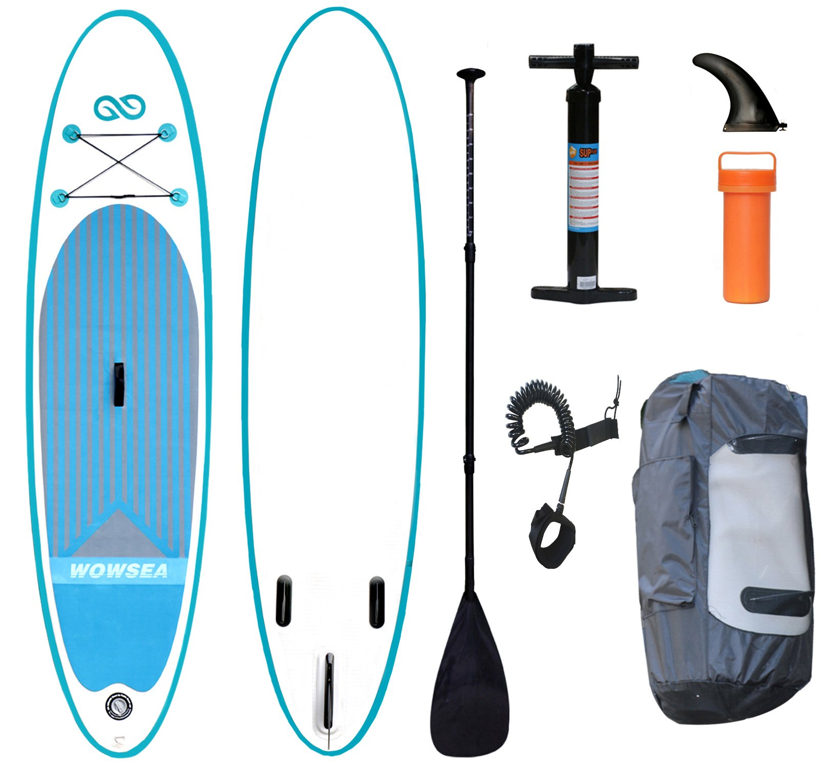 WOWSEA Inflatable Stand Up Paddle Board Together with Adjustable Carbon Fiber Sup Paddle, Travel Backpack, Repair Cylinder,Tyre Pump & SUP Leash,Size 125 x 32 x 6 inch by WOWSEA