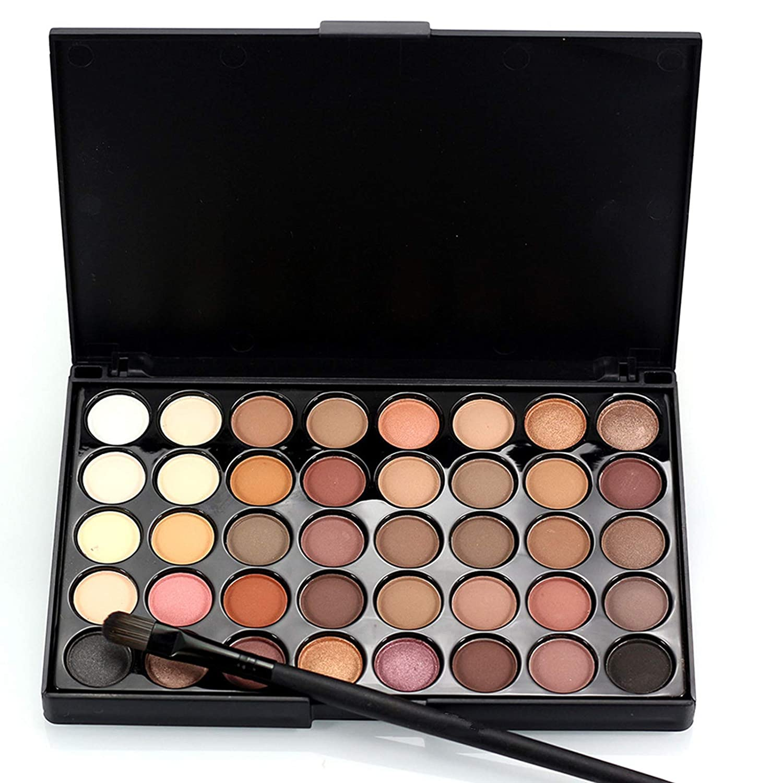 Joyeee 40 Colors Naked Eyeshadow Makeup Palette with Brush, \u200BMatte Shimmer Warm Nude Metallic Brown Eye Shadow Powder Makeup Pallet, Velvety Texture Eyeshadow Makeup Kit for Brown Eyes & Dark Skin
