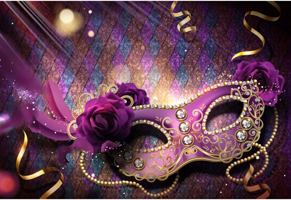 Laeacco Happy Carnival Background 10x6.5ft Masked Ball Vinyl Photography Backdrop Colorful Bokehs Streamers Confetti Mask Graduation Ceremony Birthday Fancy Dress Ball Party Portraits Shoot Decor