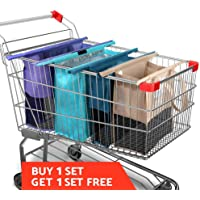LOTUS Reusable Shopping Bags Set of 8 Trolley Bags for Cart Patented Cooler Bag(2 Sets)