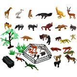 Homgaty 32Pcs Wild Animal Toys Set Toddlers Playset Display Model Collection with Fence and Tree