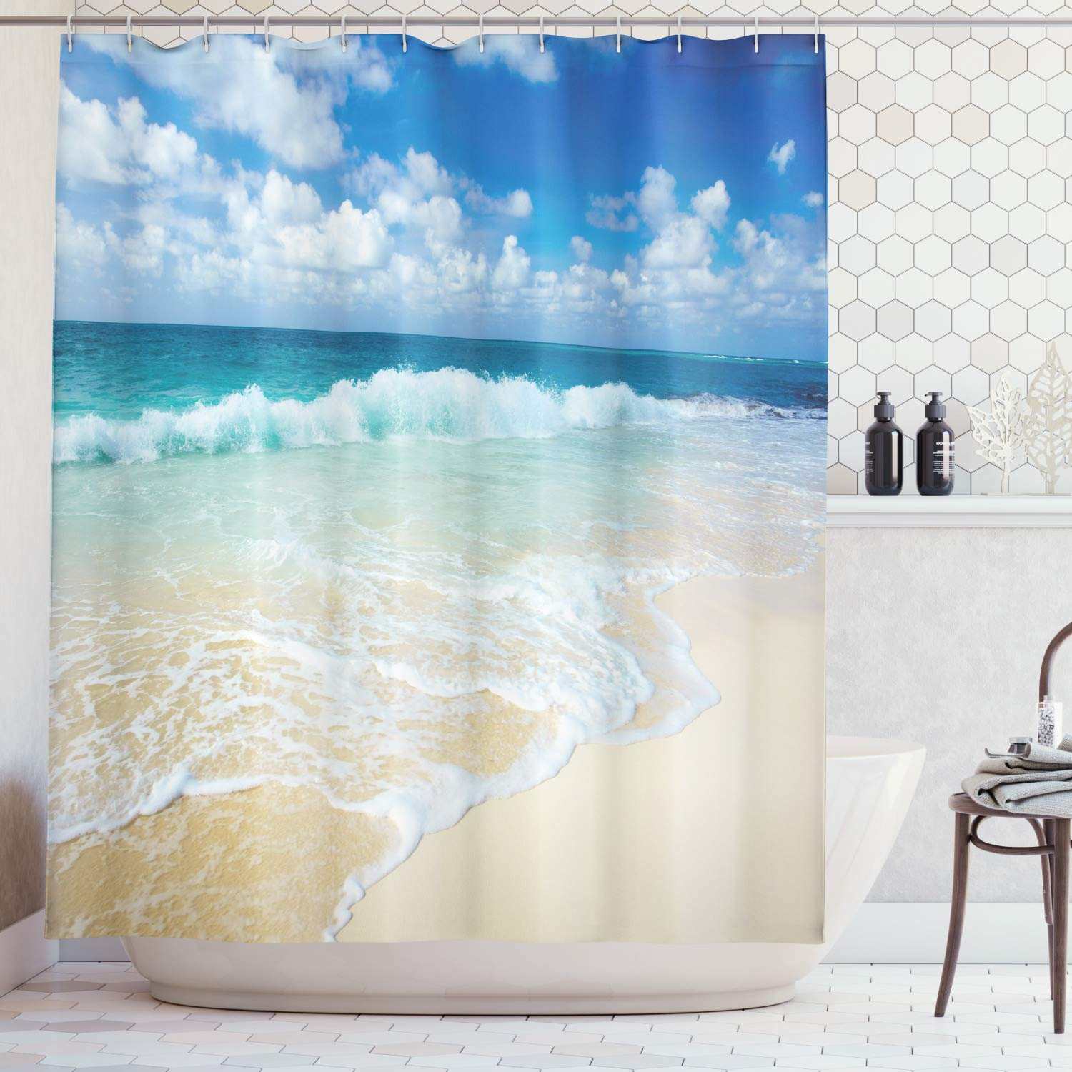 Lunarable Wave Shower Curtain, Beach with Foamy Waves on Empty Sea Shore Holiday Theme Serene Coastal, Fabric Bathroom Decor Set with Hooks, 105 inches Extra Wide, Blue White Sand Brown