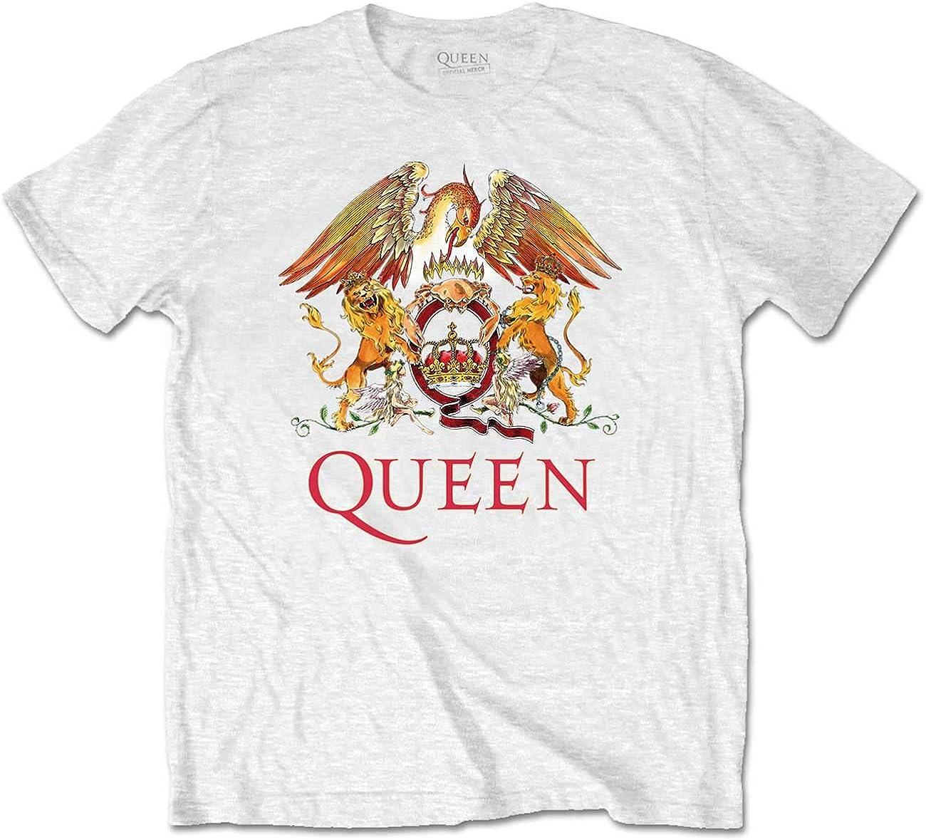 Ladies Queen Crest Freddie Mercury Brian May Official Tee T-Shirt Womens Girls