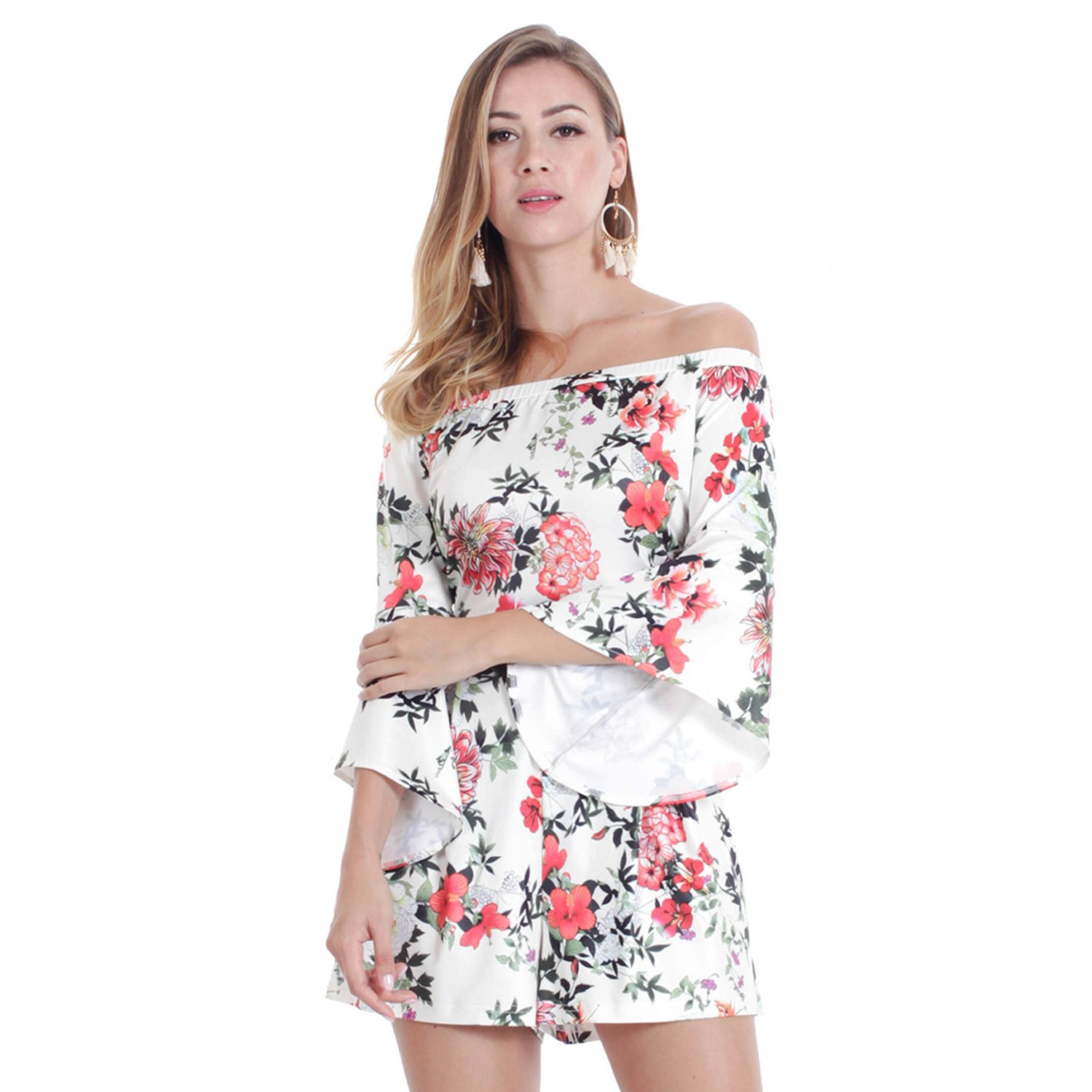 3ed2d4e747 Amazon.com  OUMAL Women Cute Rompers Halter Neck Floral Print Backless Short  Beach Boho Summer Jumpsuits with Long Sleeves  Clothing