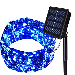 SOLARMKS Solar String Lights 8 Modes Outdoor String Lights 150 LED Fairy Lights Waterproof Blue Starry Copper Wired Lights for Garden Patio Lawn Wedding Party Christmas and Holiday Decorations