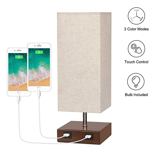 USB Bedside Lamp, 3 Way Dimmable Touch Lamp with 3 Color Modes, Modern Accent Lamp with Dual USB Charging Ports Fabric Lampshade Nightstand Lamp for Bedroom, Living Room, Office, 6W LED Bulb Included