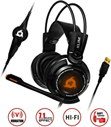 KLIM Puma - Micro Casque Gamer - Nouveau - Son 7.1 - Audio Très Haute Qualité - Vibrations Intégrées - Comfortable - Parfait pour Gaming PC et PS4 - Noir [ Nouvelle 2018 Version ]