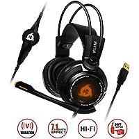 KLIM Puma - Micro Headset per Gamer - suono surround 7.1- Audio Alta Qualità - Vibrazioni Integrate - Perfette per PC e PS4 Gaming Nero