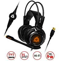 KLIM Puma - Micro Casque Gamer - Nouveau - Son 7.1 - Audio Très Haute Qualité - Vibrations Intégrées - Comfortable - Parfait pour Gaming PC et PS4 - Noir [ Nouvelle 2019 Version ]