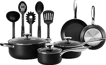 13-pieces cocina juego de ollas - color Ollas y sartenes Set con Utensilios de cocina - doble capa antiadherente - utopía cocina: Amazon.es: Hogar