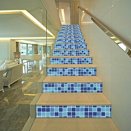 QTZS 3D Azul Mosaico Escalera Decoración del Hogar DIY Pegatinas De Pared De Renovación 13 Unids: Amazon.es: Hogar