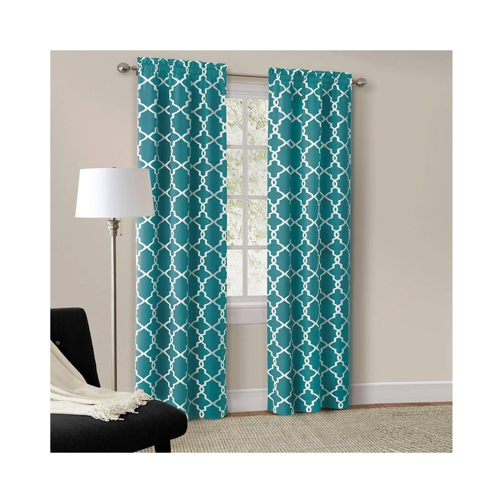Amazon.com: Mainstays Rich Teal Calix Fashion Window Curtain, Set ...