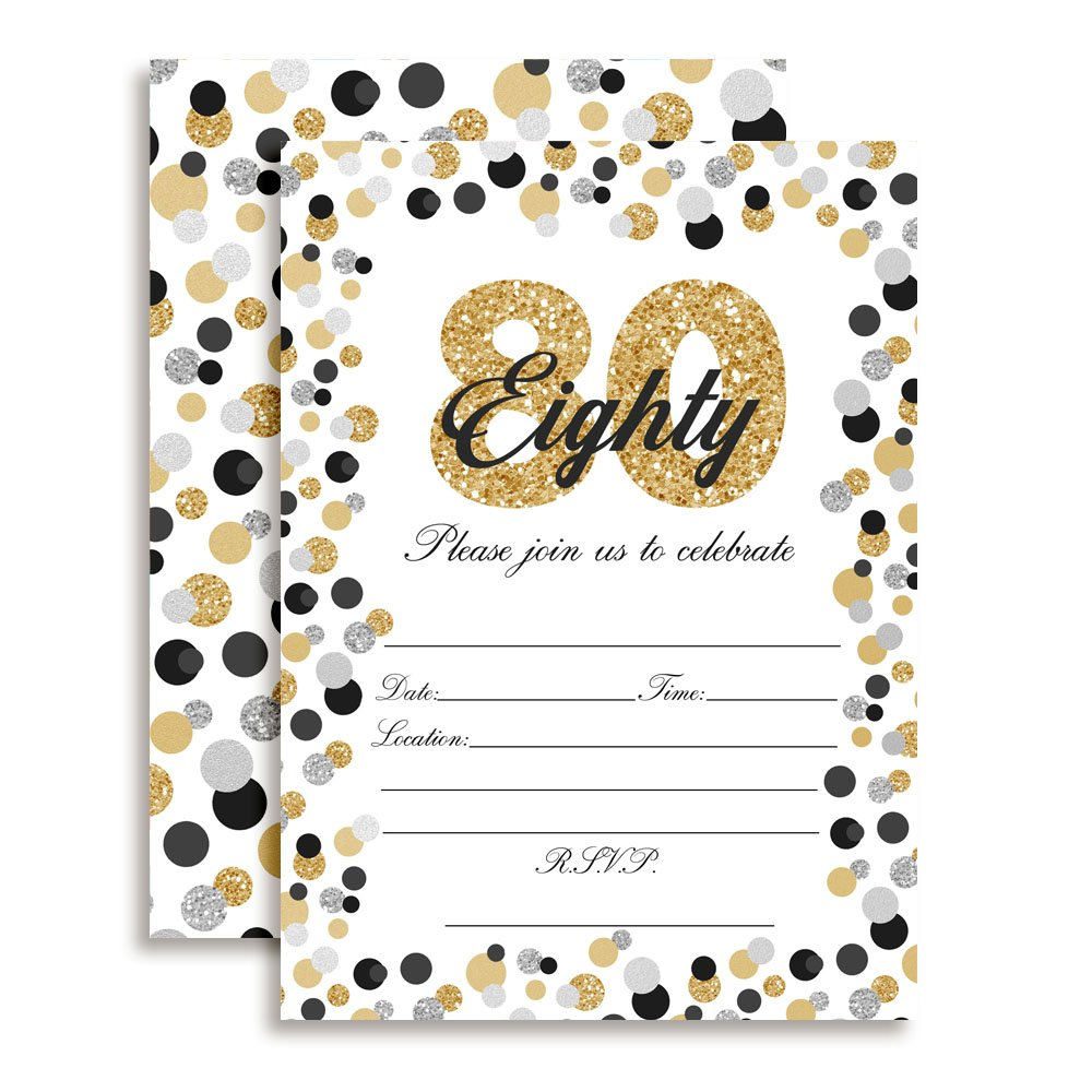 Confetti Polka Dot 80th Birthday Party Invitations, Ten 5''x7'' Fill In Cards with 10 White Envelopes by AmandaCreation by Amanda Creation