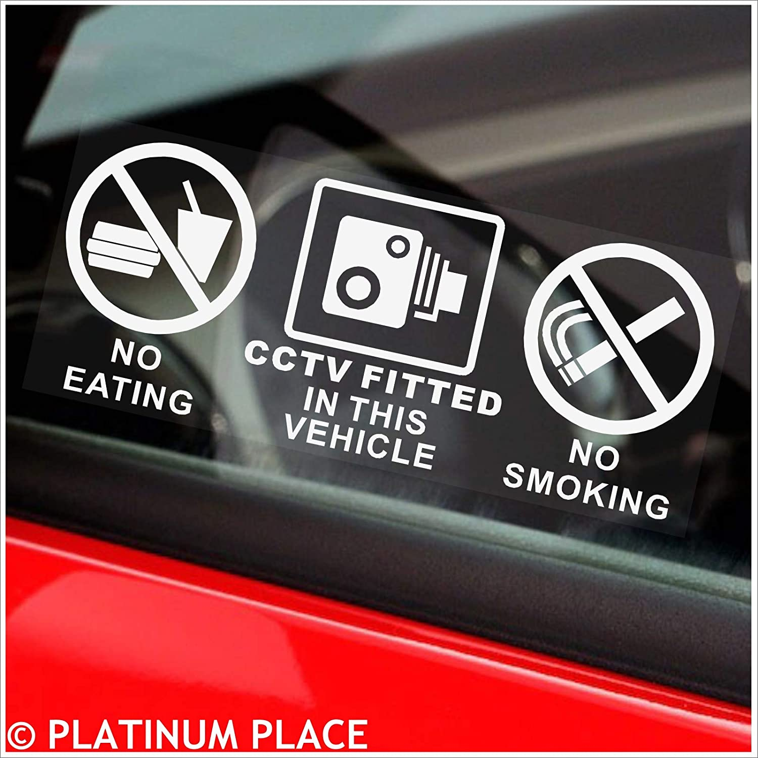 Platinum Place 2 x Vehicle INTERNAL Stickers-No Smoking,Eating,Drinking,CCTV In Operation-Car,Van,Lorry,Truck,Coach Warning Sign,Notice,Window